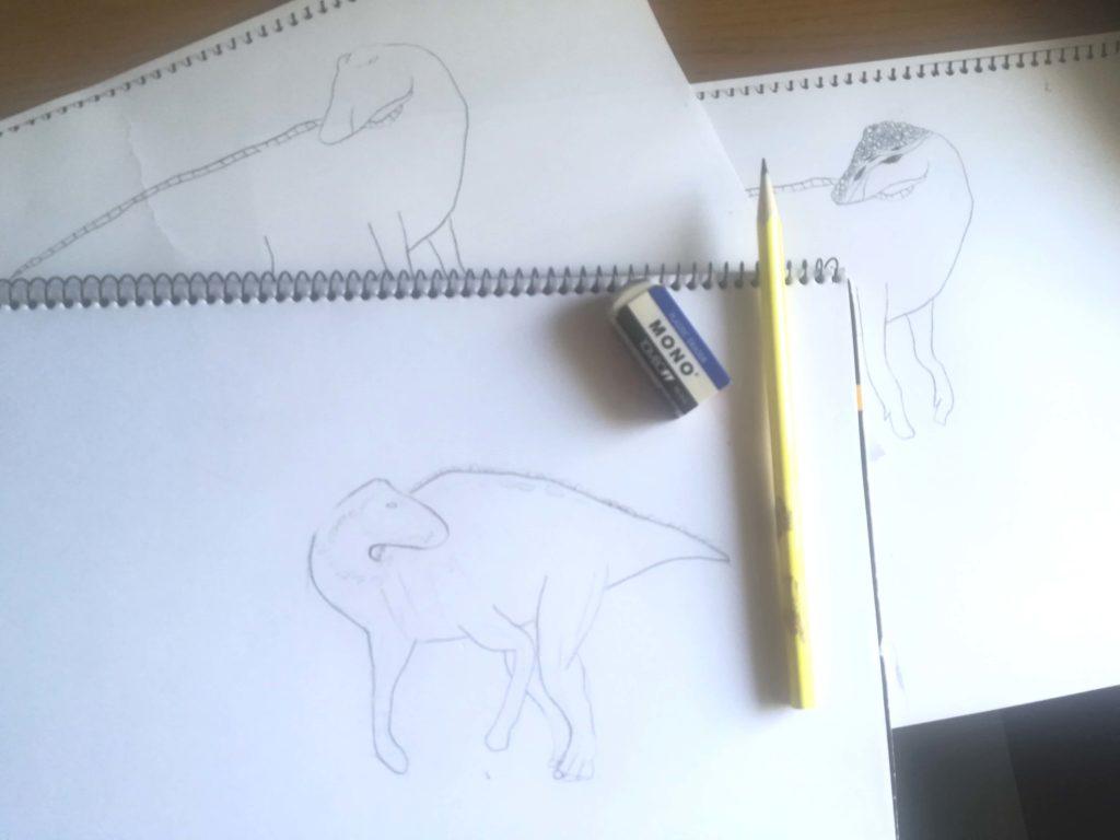 カムイサウルスのラフスケッチ